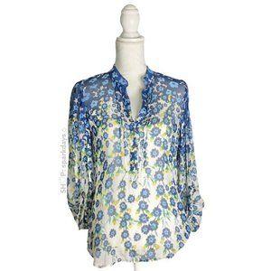 Diane Von Furstenberg Blue Floral Button up Shirt